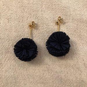 J Crew navy pompom earrings